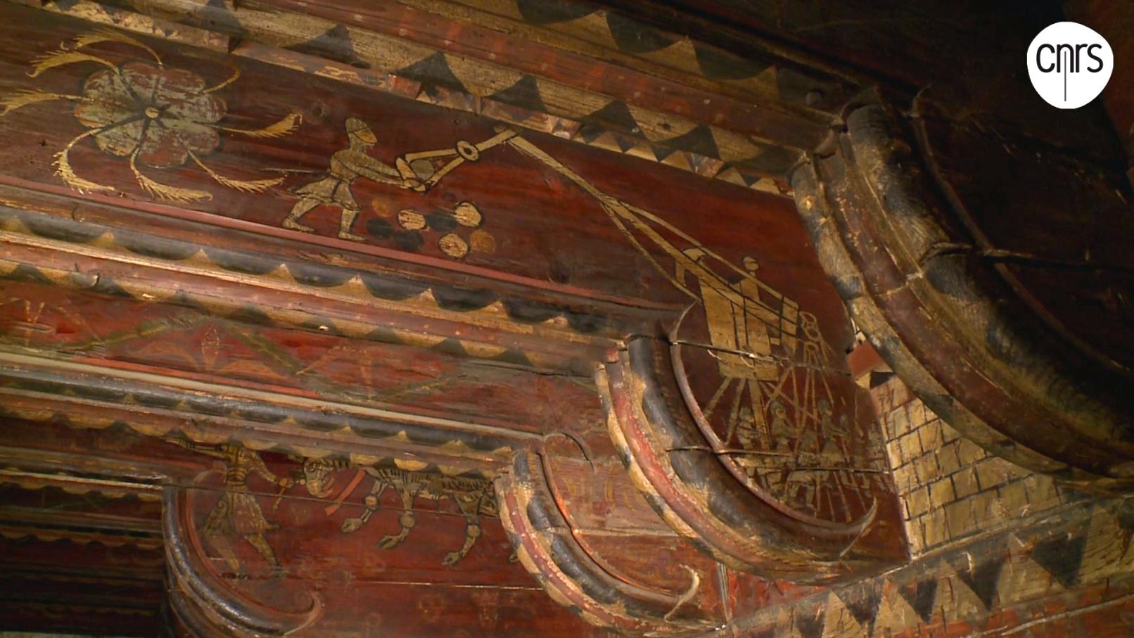 Extrait de la vidéo du CNRS sur les plafonds peints de 2014